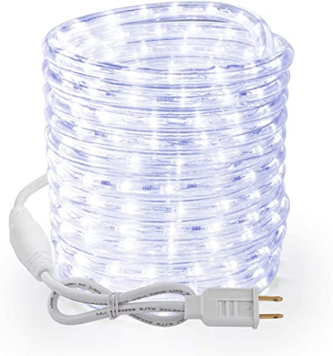 Brizled Rope Lights, 51ft 612 LED Rope Lights, 120V Plugin Christmas Rope Lights Connectable, Waterproof Cool White I...
