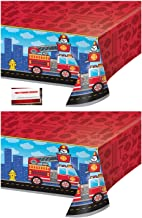 (2 Pack) Fire Truck Department Fire Fighter Plastic Table Cover 54 X 102 Inches (Plus Party Planning Checklist by Mikes Super Store)