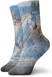 tyui7, Calcetines de compresión antideslizantes de pintura al óleo para caballos Calcetines deportivos de 30 cm acogedores para hombres, mujeres y niños