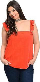 Plus Size Women Red Orange Ruffle Tank Blouse Top Casual
