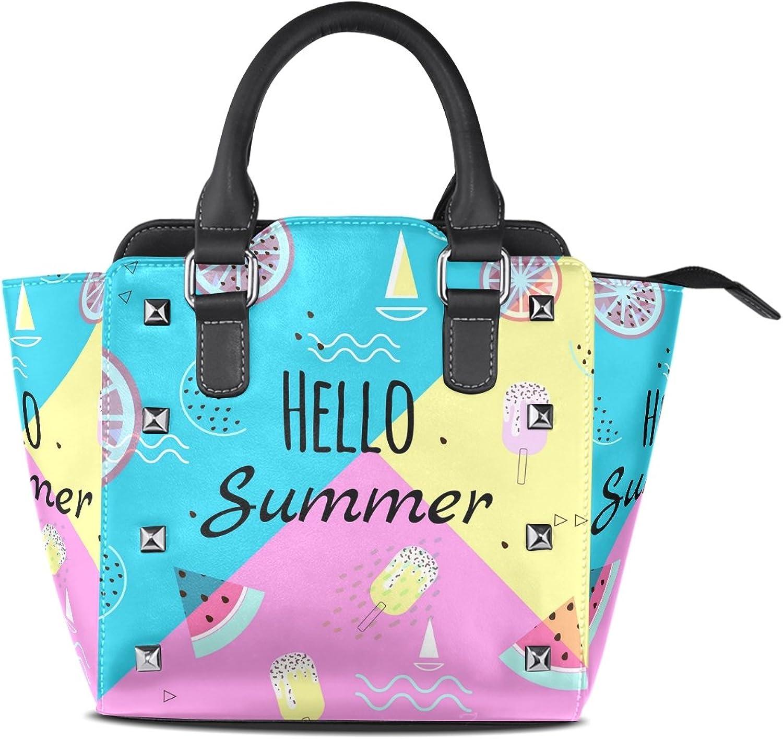My Little Nest Women's Top Handle Satchel Handbag Hello Summer Watermelon Ladies PU Leather Shoulder Bag Crossbody Bag