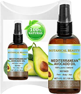 AVOCADO OIL ( MEDITERRANEAN). 100% Pure / Natural /Refined / Undiluted Cold Pressed Carrier Oil for Face, Body, Feet, Hair, Massage and Nail Care. 4 Fl. oz-120 ml.