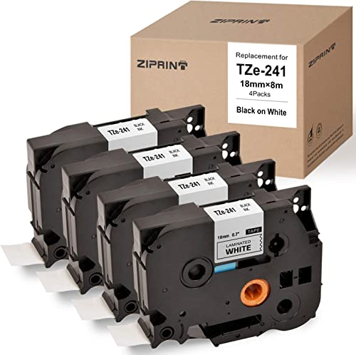 2021 ZIPRINT Compatible Label outlet online sale Tape Replacement for Brother P-Touch Label Maker TZ TZe Laminated Tape TZe241 outlet sale TZ241 Black on White 18mm (3/4 Inch) x 26.2 ft. (8m), 4-Pack online