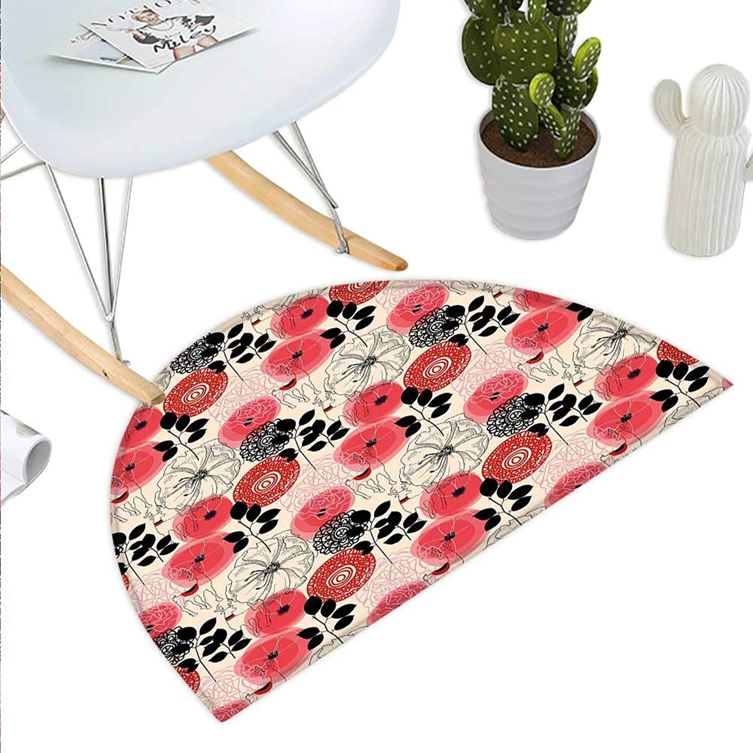 Deer Semicircle Doormat Doodle Style Abstract Floral with Abstract Wildflowers Leaves and Animals Halfmoon doormats H 43.3  xD 64.9  Vermilion Black Cream