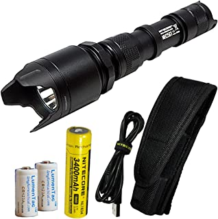 Nitecore MH25GT 1000 Lumen USB Rechargeable LED Flashlight - Long Range Throwing PVD Aggressive Bezel and 2X CR123A Batteries (Upgrade for MH25)