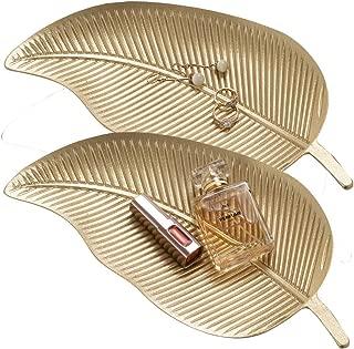 QILICHZ Jewelry Leaf Tray LeafDecorative Tray Gold Leaf Trinket Tray Jewelry Display Dish Leaf Serving TrayDessert Serving Plates Vanity Tray for Dresser Top Bathroom Table Decor