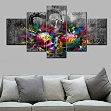 TUMOVO Black and White Wall Art Music Wall Decor Sugar Skull Pictrues Paintings 5 Panel Canvas Contemporary Artwork Home Decorations for Living Room Giclee Wooden Framed Ready to Hang(60''Wx32''H)
