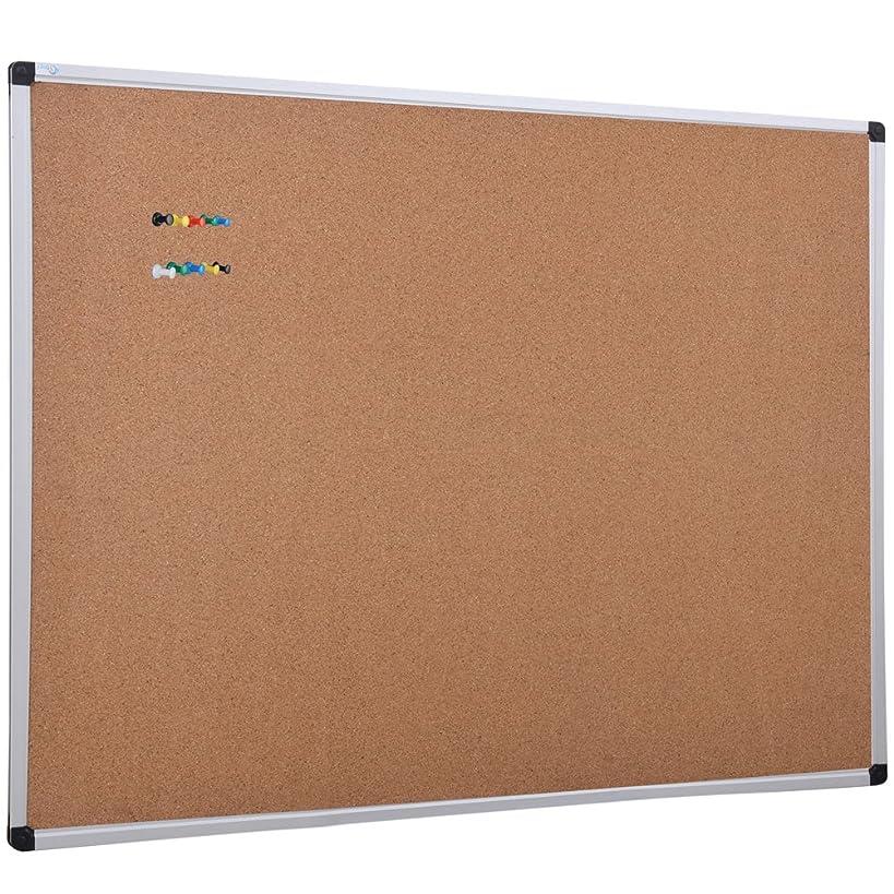 XBoard Cork Board 36 x 24, Notice Cork Bulletin Board, Corkboard with Aluminum Frame and Push Pins for Display