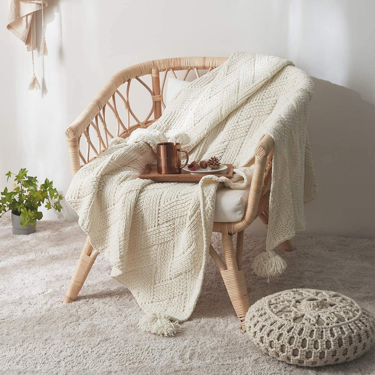 MH MYLUNE HOME Knit Throw Blanket Product Chenille Fluffy and Boho Popular product Soft