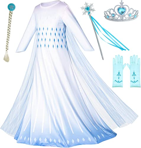 Princess Snow Queen Act 2 Costumes with Wig,Crown,Mace,Gloves Accessories 2T-9Y