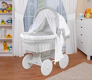 WALDIN Baby Stubenwagen-Set mit Ausstattung,XXL,Bollerwagen,komplett,44 Modelle wählbar,Gestell/Räder weiß lackiert,Stoffe weiß/Punkte weiß