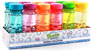 Big Bubble Bottle 12 Pack - 4oz Blow Bubbles Solution Novelty Summer Toy - Activity Party Favor Assorted Colors Set