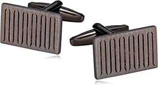 316L Stainless Steel Cufflinks for Men Ribbed Rectangle Gun Black Men's Cuff Links
