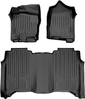 SMARTLINER Floor Mats 2 Row Liner Set Black for 2017-2019 Titan / 2016-2019 Titan XD Crew Cab 1st Row Bench Seat Without T...