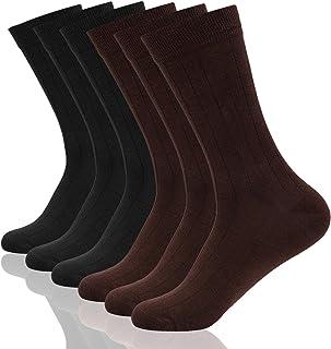 comprar comparacion Wemk Calcetines para Hombre, 6 Pares Calcetines de Algodón, Calcetines Clásicos Cómodos Transpirables para Hombre, Calceti...