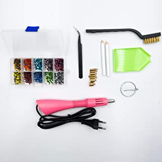 Hotfix Applicator 2000pcs Box with 10 Mix Color Hot Fix Rhinestones with 7 Different tips Nozzles Cleaning Brush Kit Tweezers