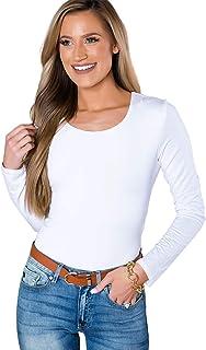 YIN HUI Women's Long Sleeve Scoop Neck T-Shirt Basic Solid Slim Cotton Tops