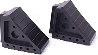 """HIGOOD Solid Rubber Wheel Chock with Handle for The Car, Strong and Durable,8"""" Length, 4"""" Width, 6"""" Height - Pack of 2"""