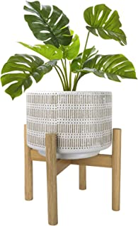 Large Ceramic Plant Pot with Stand - 9.4 Inch Boho Cylinder Indoor Planter with Drainage Hole for Snake Plants, Fiddle Fig...