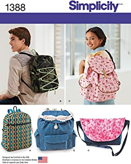 Simplicity 1388 Messenger Bag and Backpack Sewing Patterns, One Size Only
