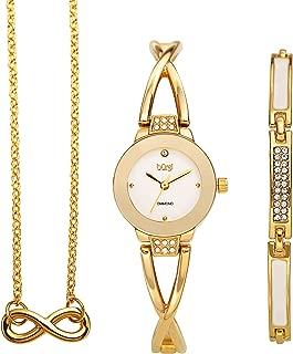 Burgi BUR213 Women's Jewelry Gift Set – Flash Plated Half Bangle Diamond Watch, Infinity Pendant Necklace and Swarovski Crystal Bracelet