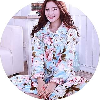 Show-Show-Fashion Winter Pyjamas Women Pink Star Print Winter Thick Flannel Warm Pajama,