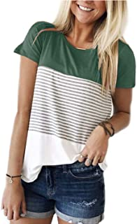 Women's Short Sleeve Round Neck Top Triple Color Block Stripe T-Shirt