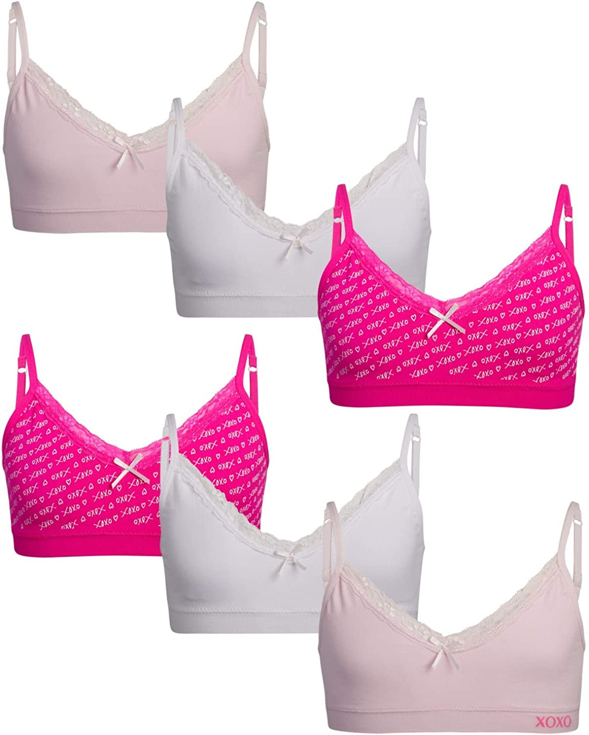 XOXO Girls' Training Bra - Seamless Cami Sports Bralette with Removable Pads (6 Pack)