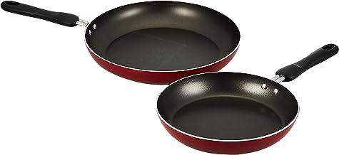 طقم مقلاة المنيوم مع ملعقة عريضة من 3 قطع، احمر، من بريستيج - PR20982