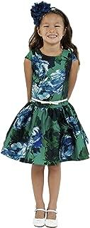 Little Girls Green Floral Print Belt Mikado Flower Girl Dress 4-6