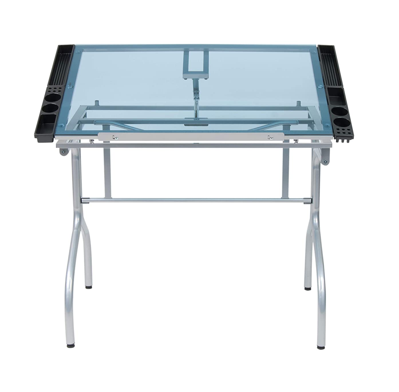 Studio Designs Folding Modern Glass Top Adjustable Drafting Table Craft Table Drawing Desk Hobby Table Writing Desk Studio Desk, 35.25