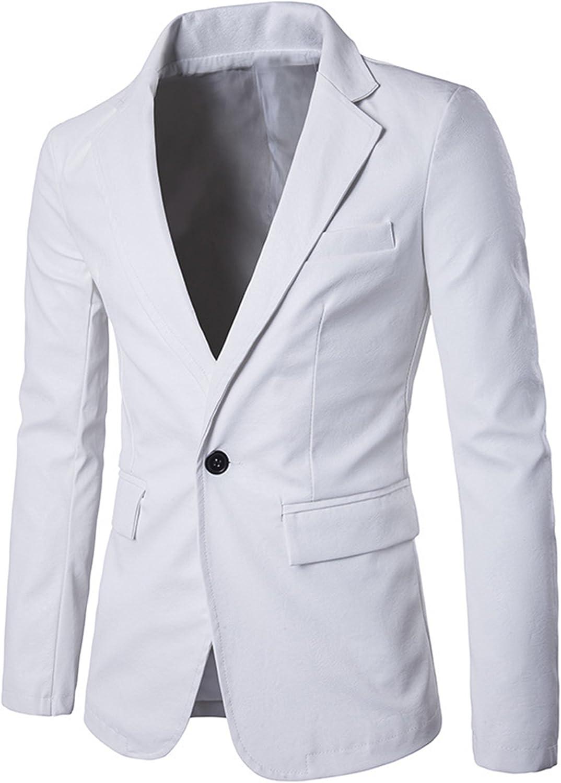 Allonly Men's Fashion Leather Suit Jacket Pure Color Peak Lapel One Button Blazer Jacket