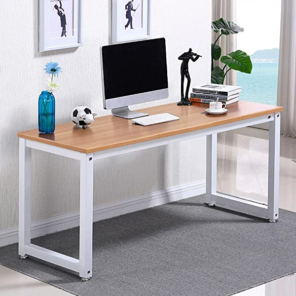Yaheetech Modern Computer Desk Writing Study Table Dining Table For Home Office PC Laptop Cart Workstation Brown