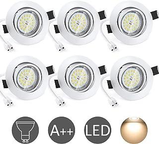 Spot LED Encastrable Blanc Wowatt 6 Spot Encastrable GU10 Orientable 40 ° Blanc Chaud 2800K 6W Equivaut 50W Ampoule Halogè...