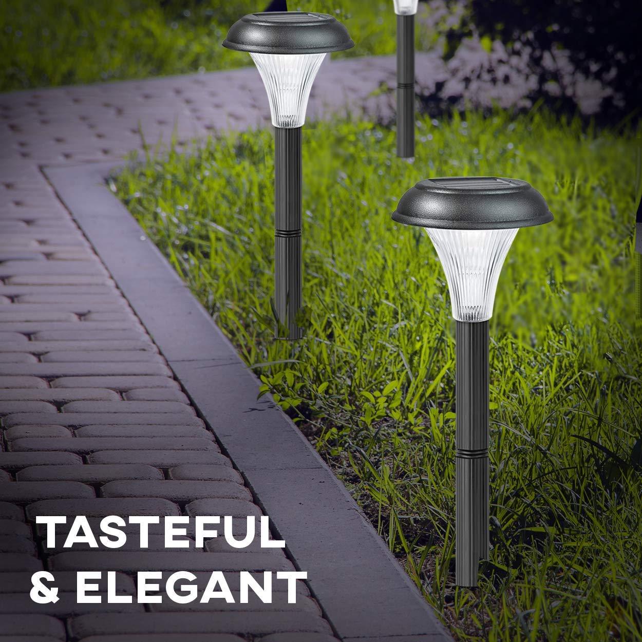 Juego de 10 luces, farolillos solares de jardín, transforma tus espacios al aire libre, caminos, maceteros, vallas; fácil de instalar sin cables; impermeables para todo tipo de climas; diseño elegante y 30 cm