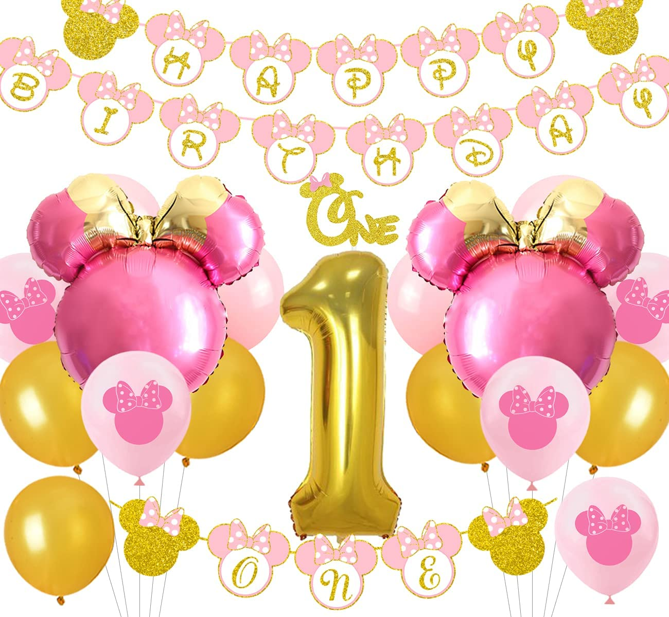 Soldering Minnie Don't miss the campaign 1st Birthday Decorations Pink One Happy Garland Gold and