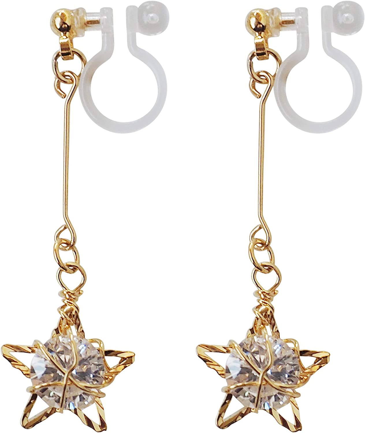 Elegant Gold Star Invisible Clip On Earrings Dangle for Women Cubic Zirconia Crystal Non Pierced Comfortable Clip On Earrings MiyabiGrace