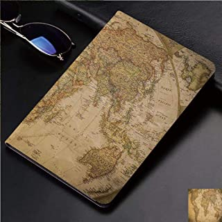 Magnetic Leather Auto Sleep Awake Smart Case Cover for Apple iPad 2 3 4 9.7inch Soft TPU Cute Covers,World Map in Retro Color with Vintage Nostalgic