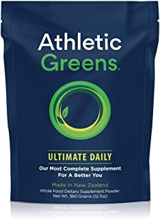 Athletic Greens Ultimate Daily, Whole Food Sourced All in One Greens Supplement Powder, NSF Certified, GlutenFree, Vegan a...