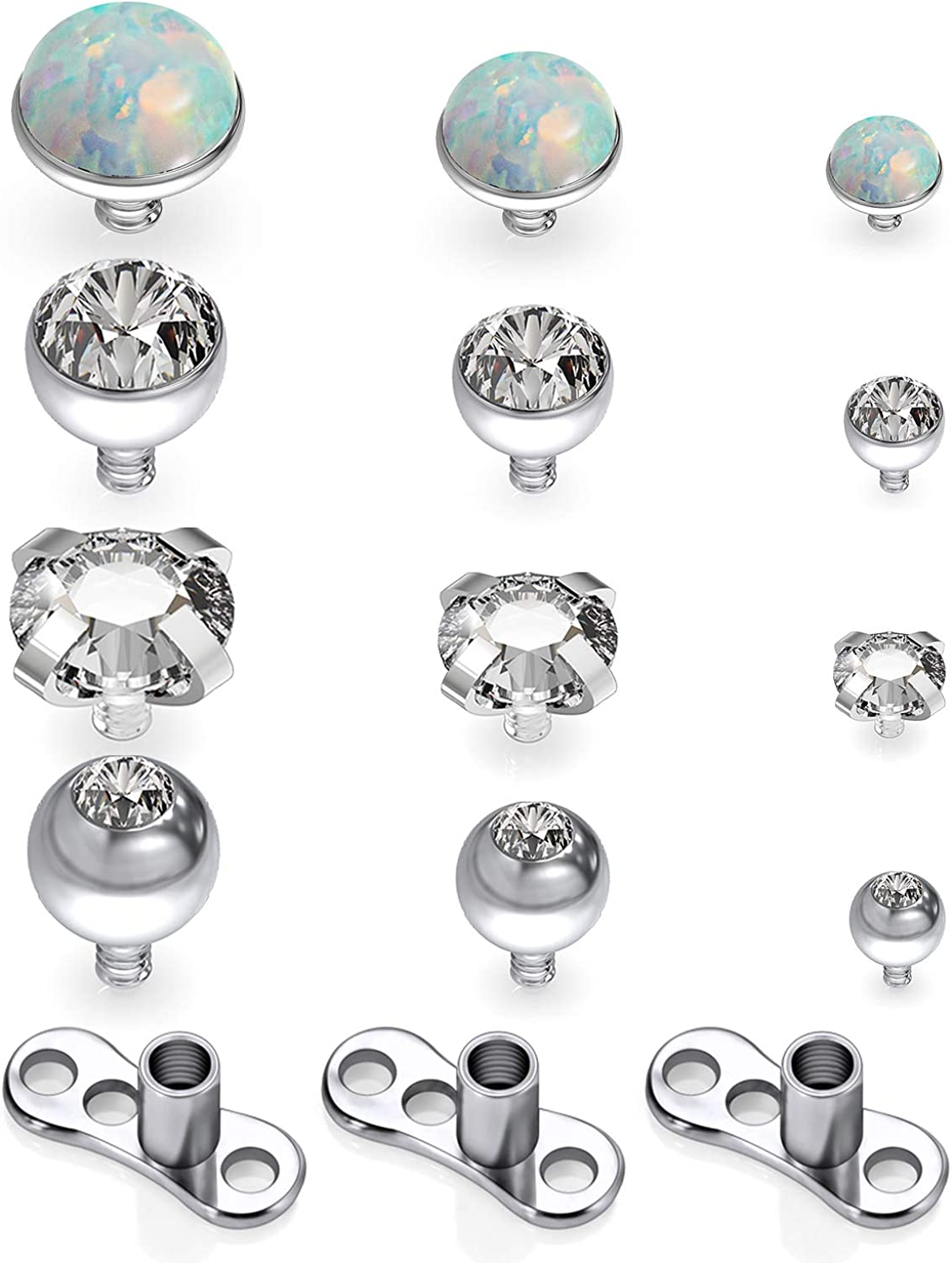 Leiainely Dermal Piercing Jewelry Dermal Tops Dermal Jewelry Dermal Top 14 Gauge Dermal Anchor Replacement Microdermals Titanium Base and Surgical Steel Tops with Gem Body Surface Piercing Jewelry