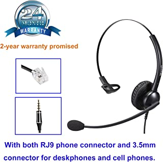 Cisco Headset RJ9 Phone Headset for Cisco IP Phone with Noise Cancelling Microphone Plus 3.5mm Connector for Mobiles iPhon...