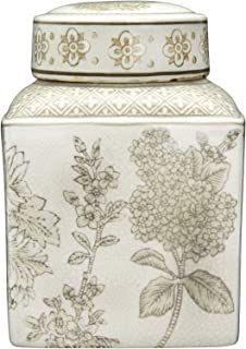 Creative Co-op Small Brown Floral Transferware Stoneware Lid Ginger Jar