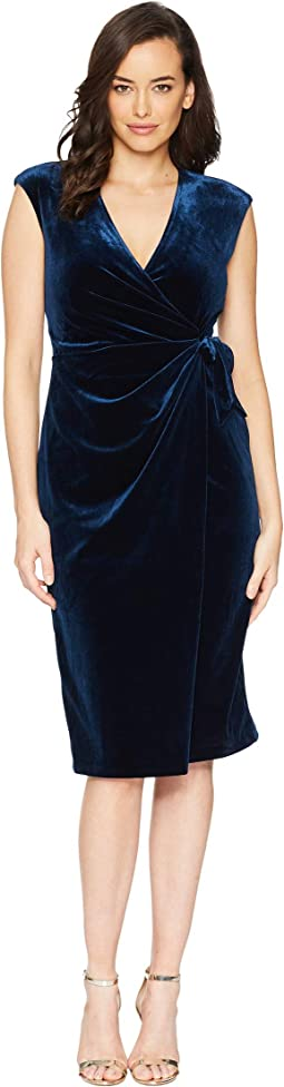 Stretch Velvet Cap Sleeve Wrap Dress