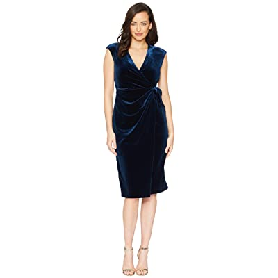 Maggy London Stretch Velvet Cap Sleeve Wrap Dress (Navy/Mulberry) Women