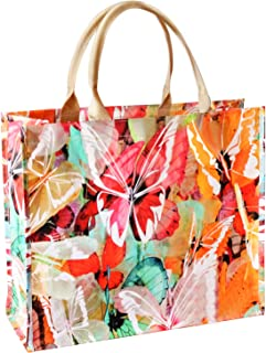 ZERLA Reusable Tote Bag, Sturdy Zipper, Fashionable,Foldable, Washable, Heavy Duty, Completely Reinforced Bottom & Handles