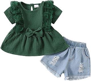 Bébé Fille Ensemble de Vêtement Tenue Haut pour 12 Mois-4 Ans, 2 Pièces Mode Courtes T-Shirt à Manche + Short en Jean été ...