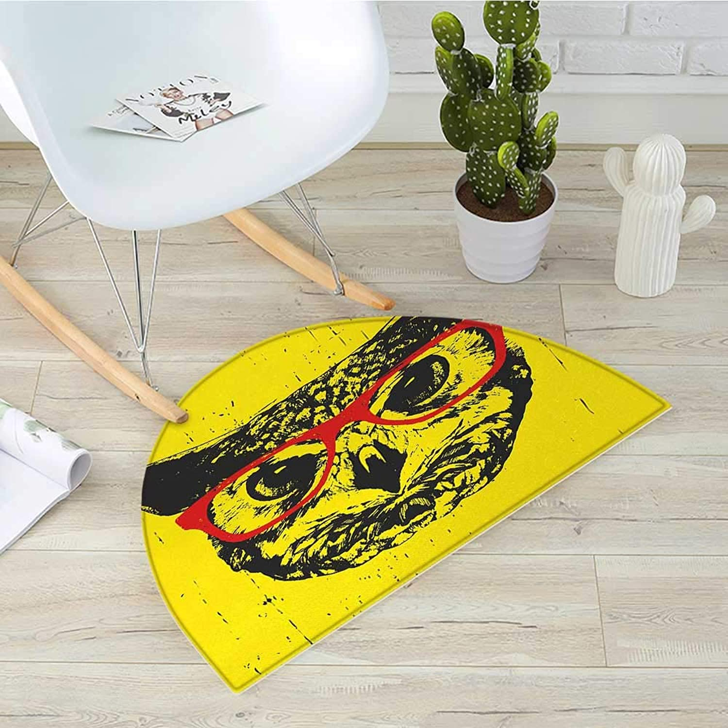 Modern Half Round Door mats Owl with Glasses Portrait Hipster Nocturnal Animal Grunge Humor Graphic Bathroom Mat H 31.5  xD 47.2  Dark Grey Yellow Red