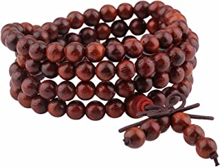 Mookaitedecor - Rosario buddhista mala a 108 perle in legno, da yoga