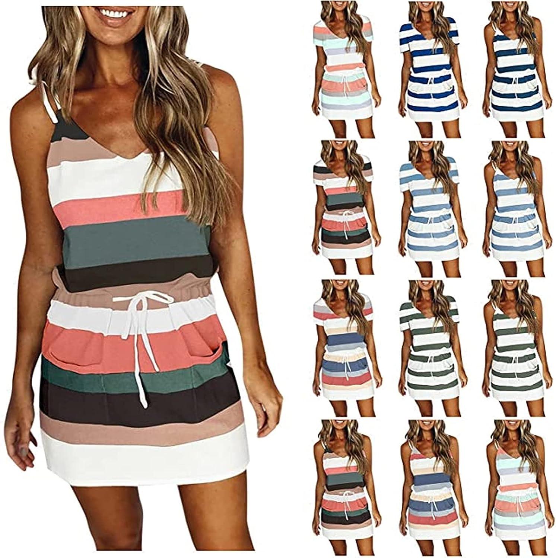 ORT Summer Striped Dresses for Women Spaghetti Strap V Neck Sleeveless Belt Shirt Casual Mini Dresse with Pocket