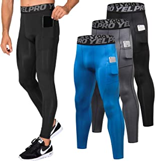 Men's Compression Pants Baselayer Cool Dry Pocket Running Ankle Leggings Active Tights